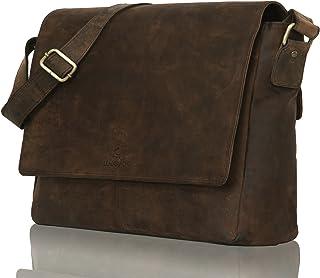 LEADERACHI Hunter Leather 20 Ltr Dark Brown Messenger Bag