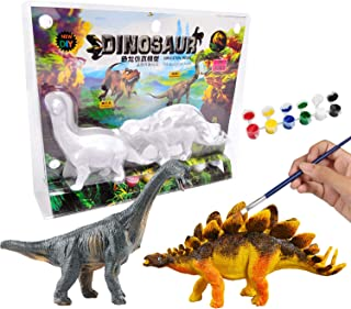 AINOLWAY 3D Painting Dinosaurs for Kids DIY Graffiti Toys - Decorate Your Own 2 Solid-Resin Dinosaur Arts Crafts ( B)
