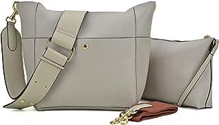 Dasein 2pcs Women's Hobo Handbags Shoulder Purses Multi Pockets Satchels Roomy Crossbody Bags