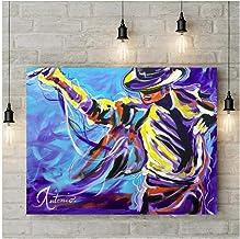wzgsffs Clásico Retrato de Acuarela Famosa Estrella Michael Jackson Graffiti Wall Art Pictures Lienzo Pintura para Sala de Estar decoración del hogar sin Marco