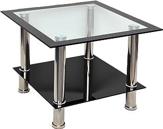 Mesa Auxiliar de Cristal, Mesa Cuadrada, Mesa para sofá en Acero Inoxidable, Vidrio Templado de 8 mm, Color Negro