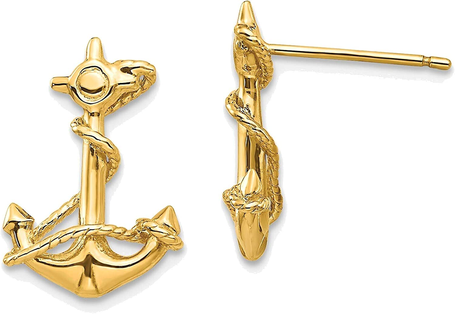3-D Anchor with Rope Post Earrings in 14K Yellow Gold