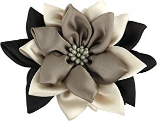 Merdia Jaw Hair Claw Clip for Women with Sharp leaves Flower Mix Color(Black,Beige and Coffee)