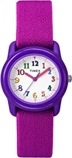 Timex Youth Timex Kids Pink Elastic Strap Purple Case White Dial Watch TW7B99400