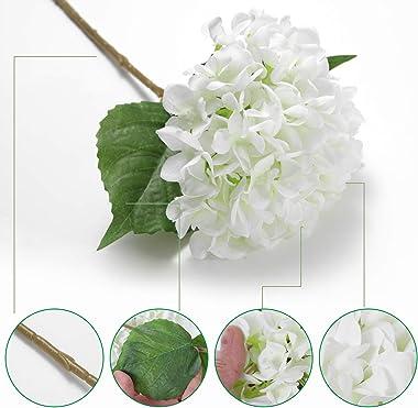 EZFLOWERY 5 Pcs Artificial Silk Hydrangeas Flowers 18'' Bouquet Arrangement, for Home Decor, Wedding, Office, Room, Hotel, Ev