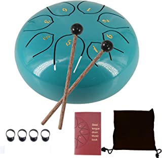 MITUTEN Steel Tongue Drum 8 Notes 6 Inches Chakra Tank Drum With bag, Music Score for Musical Education Yoga Meeting Offic...