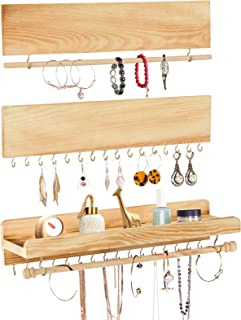 Jewelry Organizer 3 Pack, POZEAN Necklace Holder Hanging Jewelry Organizer, Wooden Earring Holder Organizer with Removable...