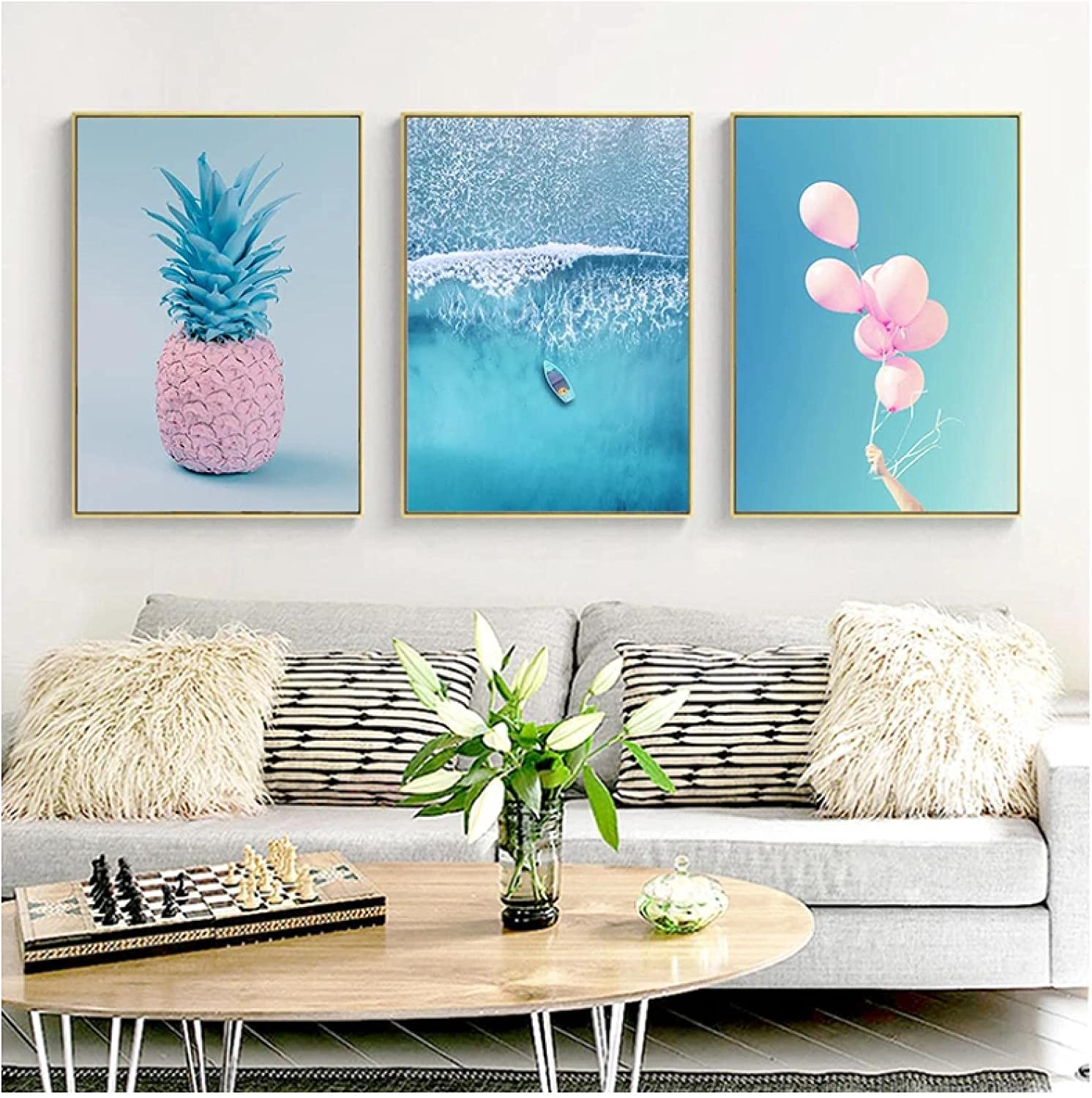 Free shipping Wall Art Painting Save money Blue Ocean Pineapple Landscape Balloon Poster