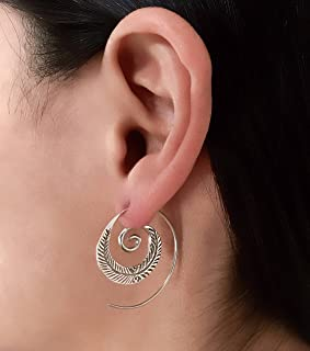 Silver Earrings - Silver Spiral Earrings - Gypsy Earrings - Tribal Earrings - Ethnic Earrings - Indian Earrings - Statement Earrings (ES15)