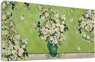 The Vase with Pink Rose Flowers by Vincent Van Gogh Classic Wall Art Reproduction Print On Canvas Painting Framed for Bedroom Home Decor