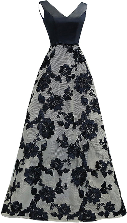 Epinkbridal Women's Double VNeck Satin Embroidery Long Evening Formal Dress