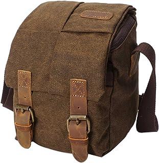Neuleben Wasserdicht Klein Kameratasche SLR-Tasche Vintage Fototasche aus Canvas Unisex für Spiegelreflexkameras Braun