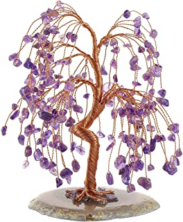 PESOENTH Money Tree Feng Shui Amethyst Crystals Gemstones Healing Tree of Life Ornament Figurine Agate Slice Geode Quartz Stone Stand for Wealth Good Luck Home Decoration