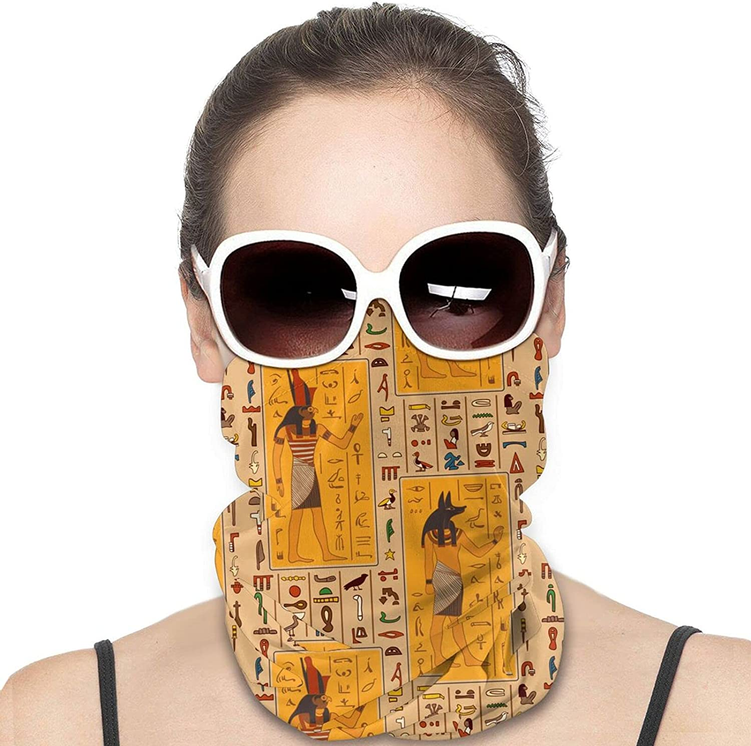 Egyptian Gods And Ancient Egyptian Hieroglyphs Round Neck Gaiter Bandnas Face Cover Uv Protection Prevent bask in Ice Scarf Headbands Perfect for Motorcycle Cycling Running Festival Raves Outdoors