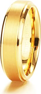Glory Womens Mens 6mm Matte Brushed Tungsten Carbide Ring 14K Yellow Gold Wedding Band Comfort Fit