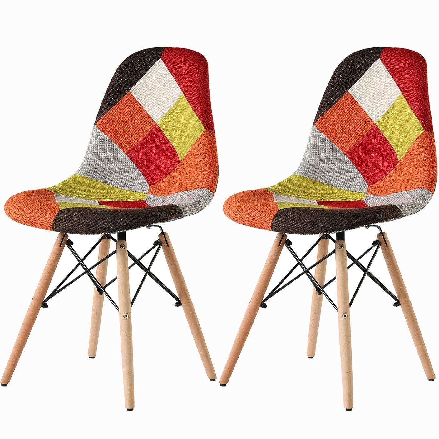 奨励します気がついてご注意食卓椅子 イームズ椅子 パッチワークファブリック 天然木製の脚 オシャレチェア 人気商品 二脚セット