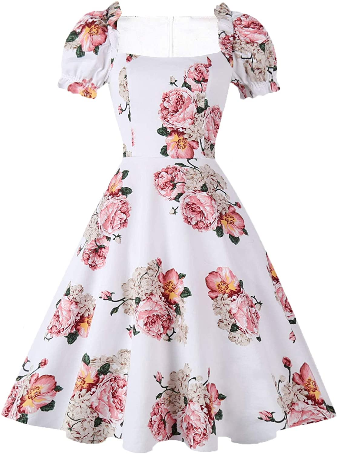Hanpceirs Women's Puff Short Sleeve 1950s Party Dresses Square Neck Aline Dress with Pockets
