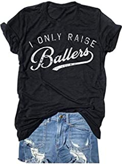 YUYUEYUE Busy Raising Ballers I Only Raise Ballers Letter Print T-Shirt Tops