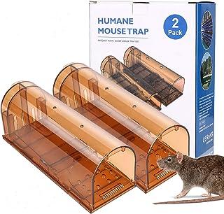 Golwof Trampa para Ratones 2 Pcs Ratonera Ratas Vivos Trampa para Ratas Ratonera de Plástico Reutilizable con Diseño de Cola Anti-Roto y Agujeros de Aire para Cocina Jardín Hogar Cocina Ático Garaje