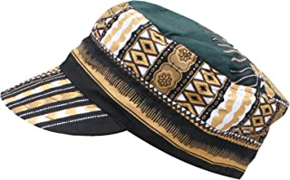 RaanPahMuang African Dashiki Cotton Cuba Revolution Army Cap Flat Top Hat