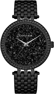 Caravelle Designed by Bulova Women's Quartz Watch with Stainless-Steel Strap, Black, 18 (Model: 45L171)