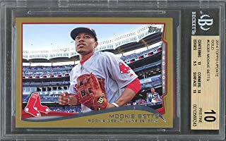 2014 topps update gold #us301 MOOKIE BETTS rookie card (PRISTINE) (POP 3) BGS 10 Graded Card