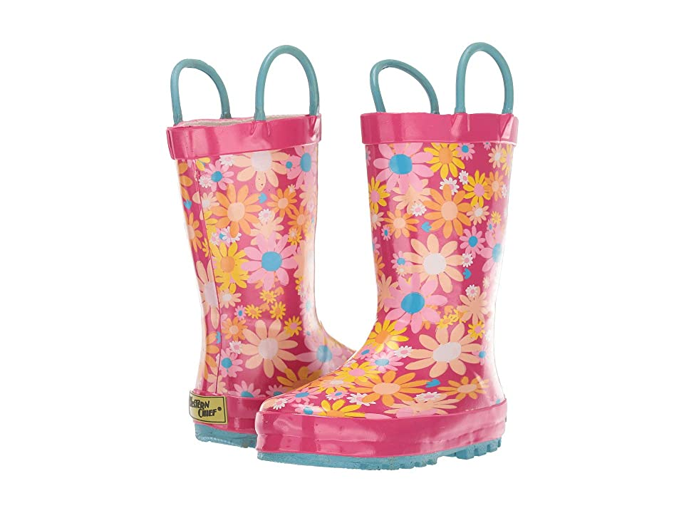 Western Chief Kids Limited Edition Printed Rain Boots (Toddler/Little Kid) (Daisy Patch Fuchsia) Girls Shoes