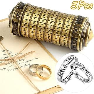 TUPARKA 5Pcs Da Vinci Code Mini Cryptex Valentine's Day Interesting Creative Romantic Birthday Gifts for Her(Bronze)