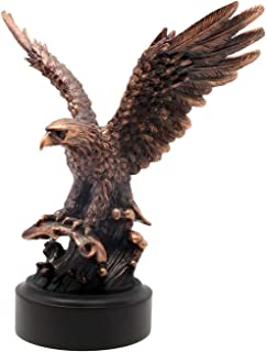 L7 Enterprises Bronze Eagle Lifting Off The Water After A Successful Hunt - Patinated Copper Plated Figurine | Sculpture | Statue …
