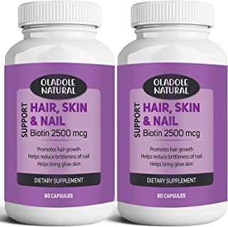 Oladole Natural Biotin Pack of 2 Bottles, Hair Skin & Nails Extra Strength Hair Growth Optimal Solutions Helps Support Ene...