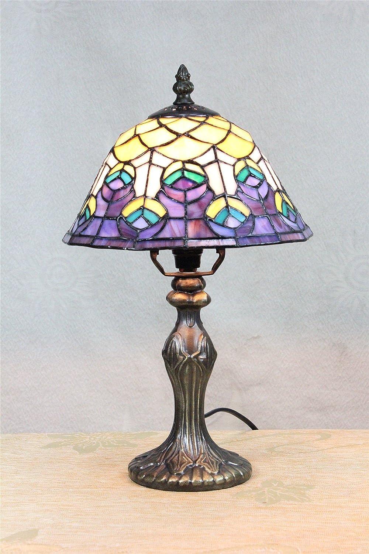HDO 8-Zoll Pastorale Glasmalerei Peacock Tail Style Tischlampe Schlafzimmer Lampe Nachttischlampe