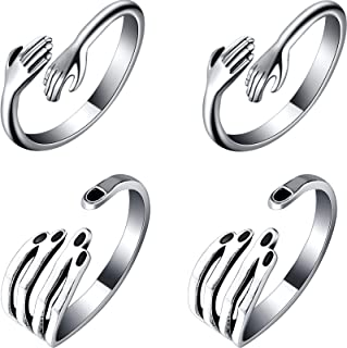 Hicarer 4 Pieces Hug Rings Hand Rings Adjustable Open Rings Stainless Steel Vintage Rings for Valentine's Day Men Women