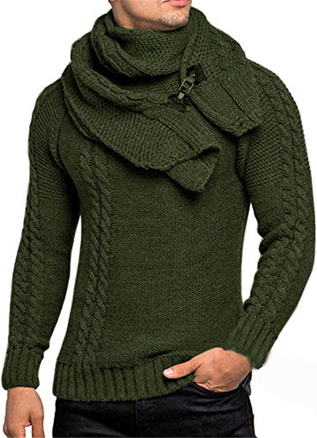 ZSBAYU Men's Fashion Detachable Wrap Scarf Shawl Collar Sweaters Casual Solid Long Sleeve Knitted Sweaters