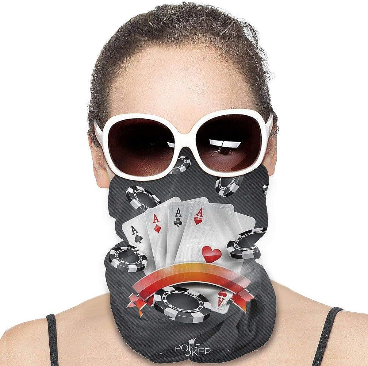 JinSPef Bandana Face Mask - Poker Cards Tournament Art Bandana Face Mask Bandana Face Mask Head Bands Sport Mask Headband Sun Mask