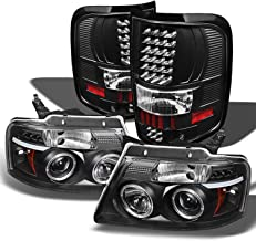 For Ford F150 F-150 Pickup Black Bezel Dual Halo LED G2 Projector Headlights + Tail Lamp Set
