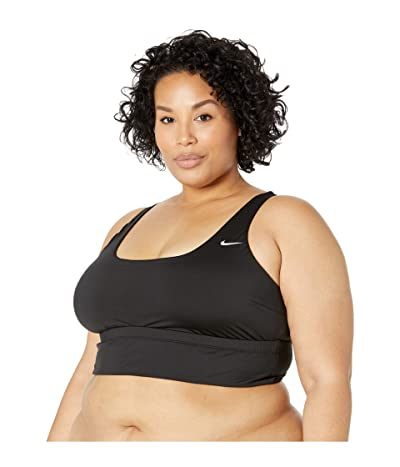 Nike Plus Size Essential Scoop Neck Midkini (Black) Women