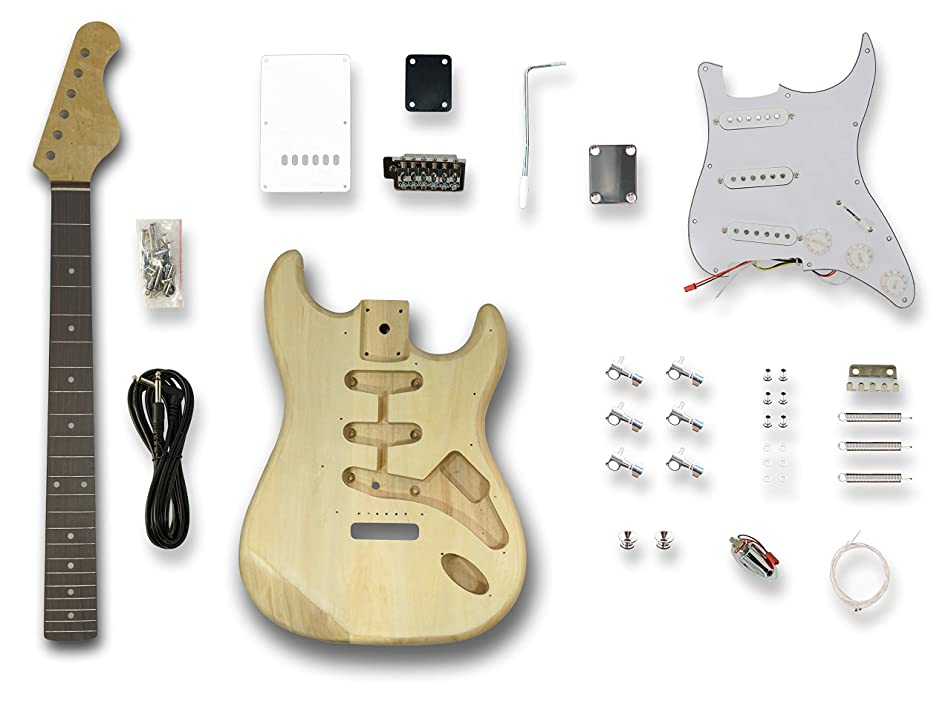 DIY Electric Guitar Kits for Stratcaster Electric Guitar,Poplar wood Body, Linden Veener Top