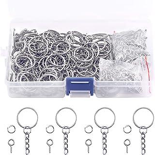 Swpeet 450Pcs Key Ring with Chain Snap Hook Split Keychain Parts, Metal Key Ring Hardware
