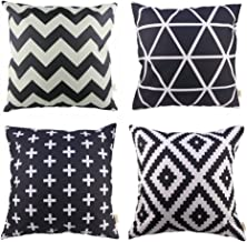 HOSL P61 4-Pack Sofa Home Decor Design Throw Pillow Case Cushion Covers Square 18 Inch (1x plus, 1x Geometry, 1x triangle, 1x Black Zig Zag Chevron) Case Only, NO PILLOW
