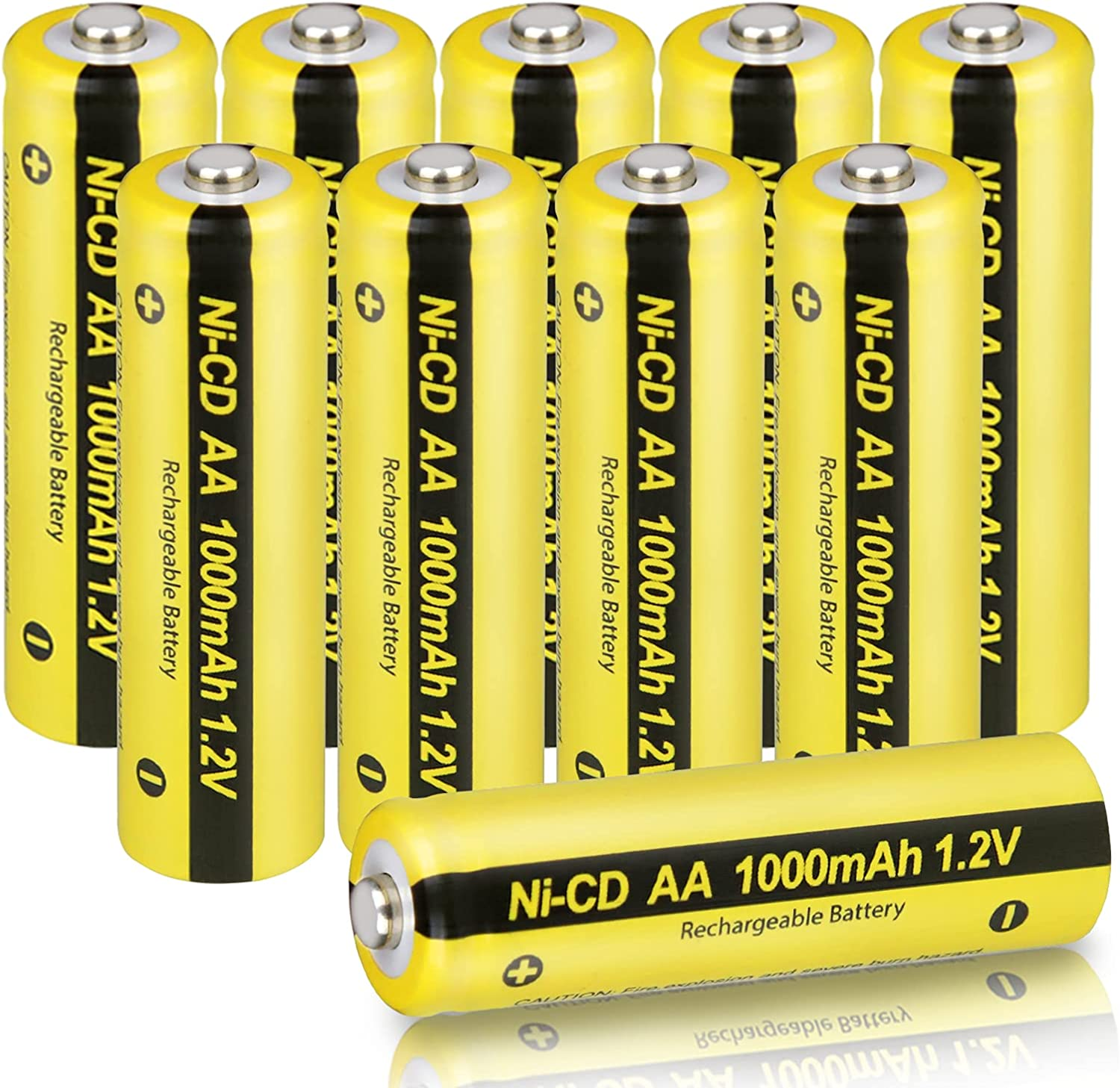 AA 1.2V NICD 1000mAh Rechargeable Battery for Garden Landscaping Solar Lights(10-Pack)