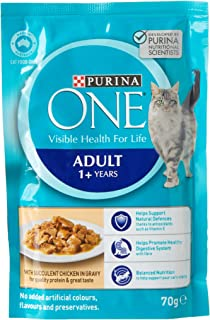 Purina One Adult with Chicken Wet Cat Food, 5 Pack x (12x70g)