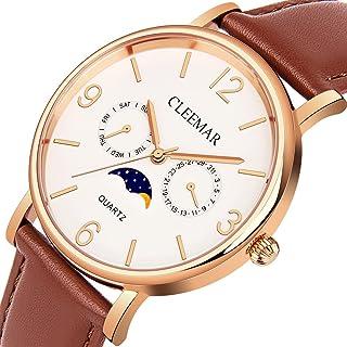 Men and Womens Quartz Watch, Cleemar Classic Fashion Analog Waterproof Wrist Watch with Date,