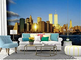 SKIWAMural Self Adhesive Wallpaper Roll Paper Twin Towers in New York New York City Skylines and Pictures Removable Peel and Stick Wallpaper Decorative Wall Mural Posters Home Covering Interior Film