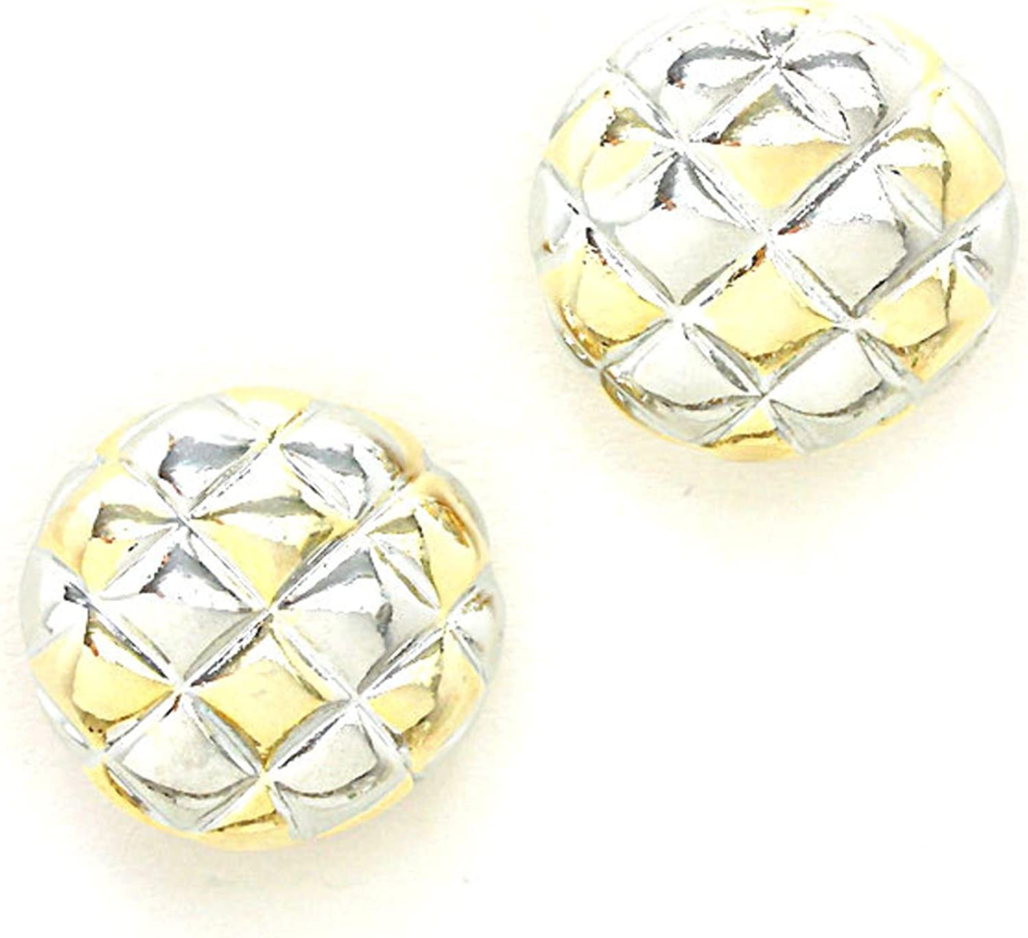 Fashion Trendy Two Tone Checkered Dome Clip On Earrings For Women / AZERCO978-2GS