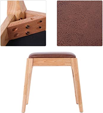 AYNEFY Dressing Stool, Oak Makeup Stool Bedroom Square Dressing Upholstered Vanity Sofa Chair and Upholstered Piano Stool Bea