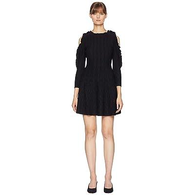 The Kooples Open Shoulder Knitted Dress (Black) Women