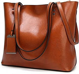 Womens Soft Leather Handbags Large Capacity Retro Vintage Top-Handle Casual Tote Shoulder Bags Brown