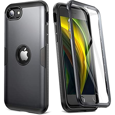 YOUMAKER Upgraded Design for iPhone SE 2020 Case, Full Body Rugged with Built-in Screen Protector Heavy Duty Protection Slim Fit Shockproof Cover for iPhone SE 2nd Generation 4.7 Inch - Black/BK