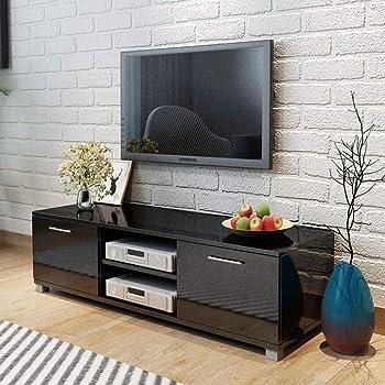 UnfadeMemory Mueble para TV,Mesa para TV,Decoración de Dormitorio,con 2 Repisas y 2 Compartimientos,Estilo Moderno,MDF (Negro Brillante, 120x40,3x34,7cm): Amazon.es: Hogar