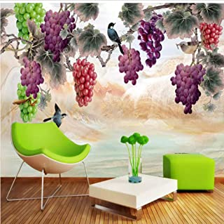 3D Wallpaper Waterproof Hand Painted Grape Flower Bird Large Mural Living Room Sofa Bedroom Wall Painting-200cmx140cm